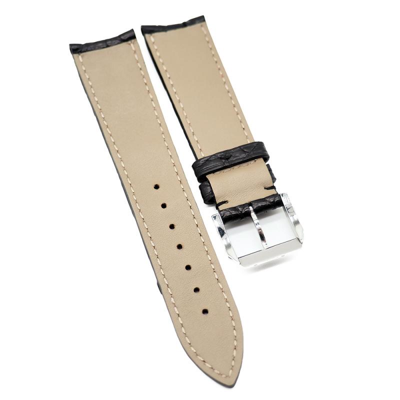 21mm 黑色優質鱷魚皮背骨錶帶