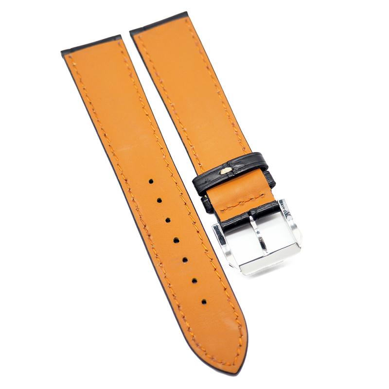 21mm 黑色優質鱷魚皮錶帶, 米黃色車線