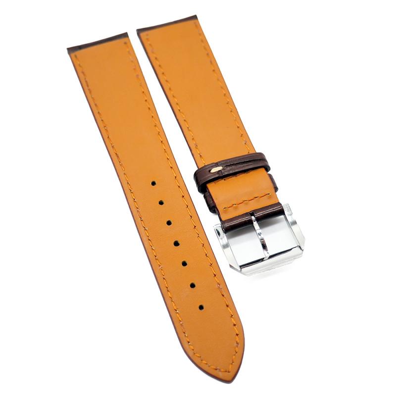 21mm 啡色優質鱷魚皮錶帶, 米黃色車線