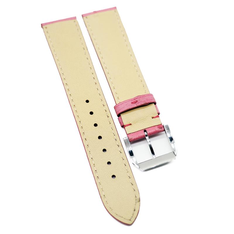 20mm 粉紅色鴕鳥皮錶帶
