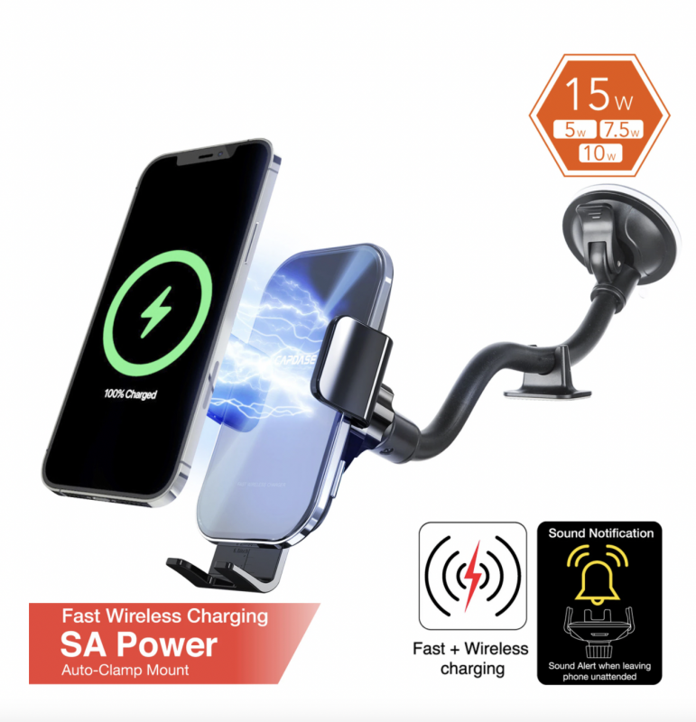 Capdase SA Power Fast Wireless Charging Auto-Clamp Car Mount Gooseneck Arm 300mm - HR00-SOUNDG01-300