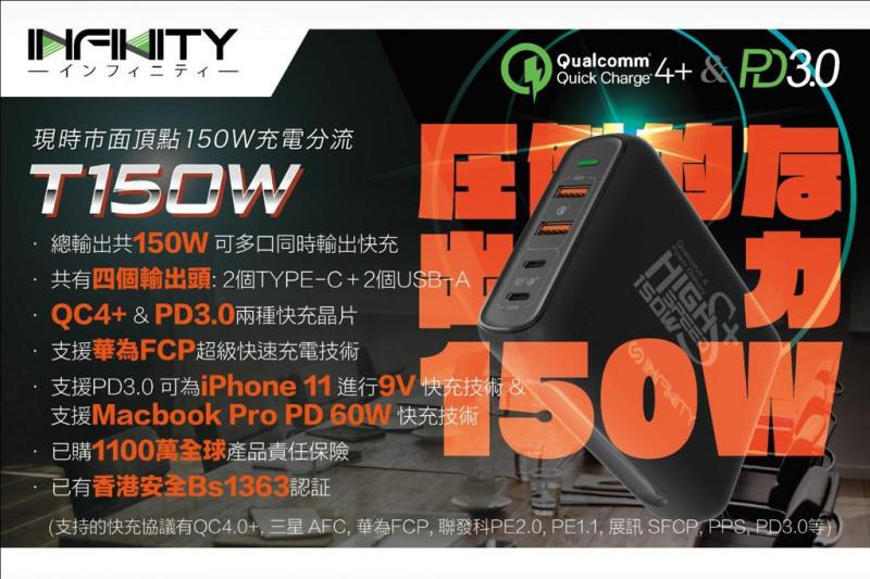 INFINITY 150W 雙Type C QC4.0 & PD3.0快充 座枱USB分流器 (T150W)