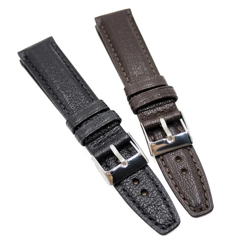 20mm, 21mm 荔枝紋牛皮代用錶帶 合適IWC等等, 黑色 / 深棕色