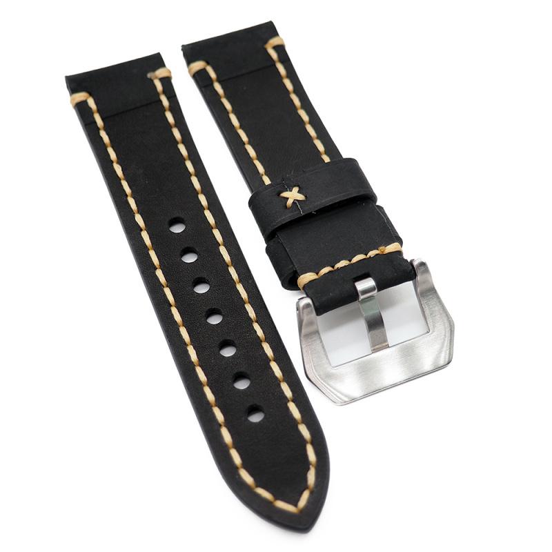 23mm 黑色牛皮錶帶