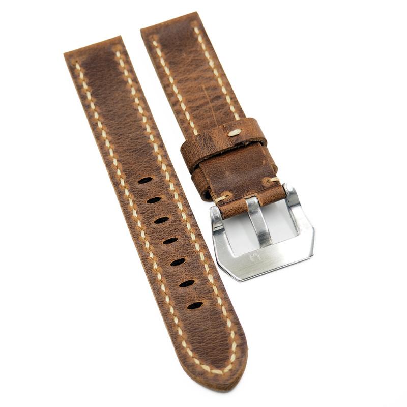 20mm, 22mm 意大利植鞣牛皮錶帶, 灰黑色 / 棕紅色