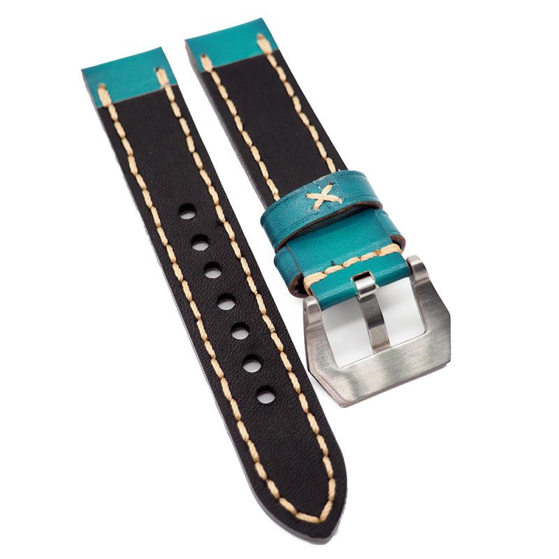 20mm 淺蔥色牛皮錶帶, 粗車線