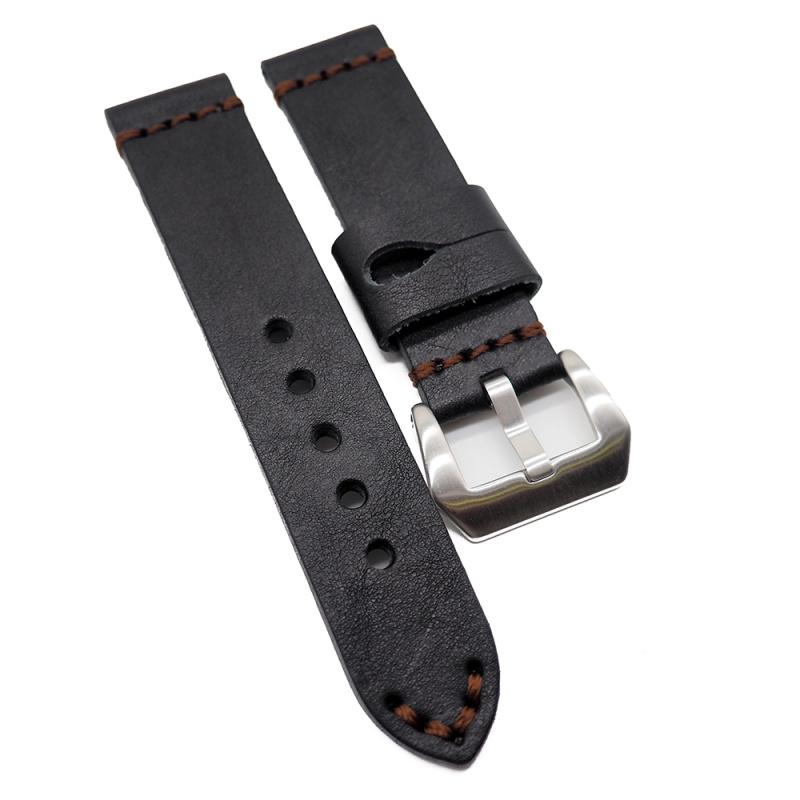 22mm 黑色意大利牛皮復古錶帶