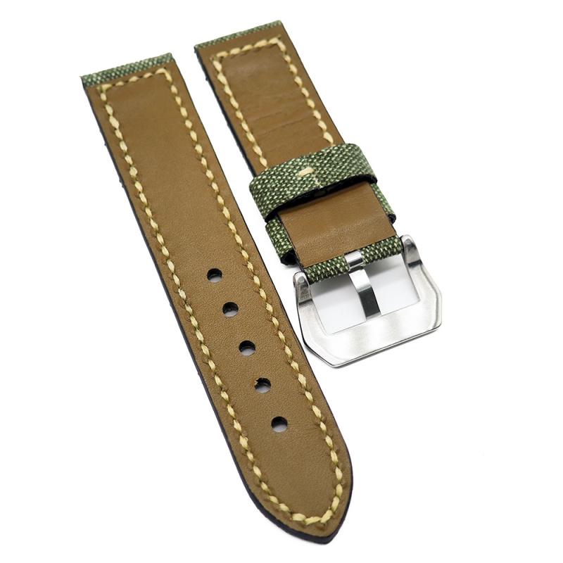 24mm 軍事風格青苔綠色帆布牛皮錶帶