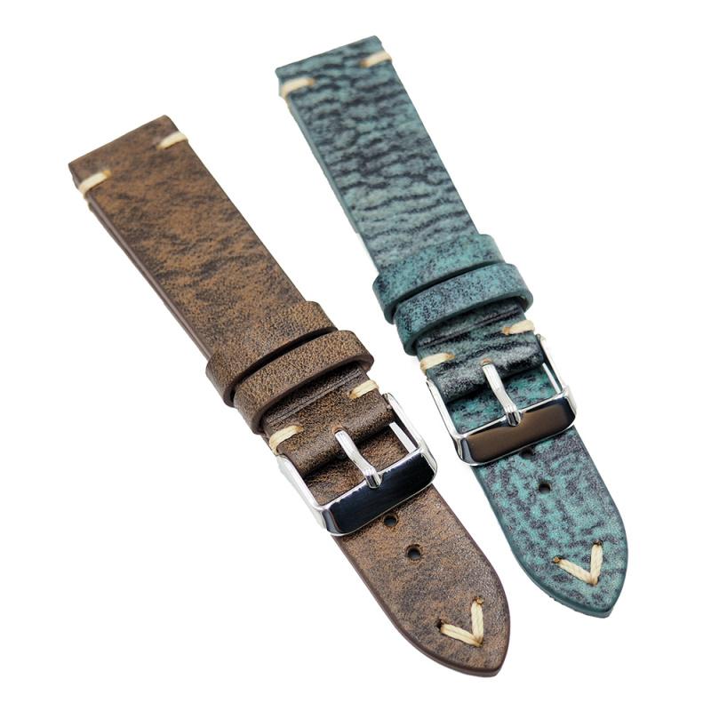 20mm 牛皮復古錶帶, 舊化湖水藍色 / 舊化啡黃色
