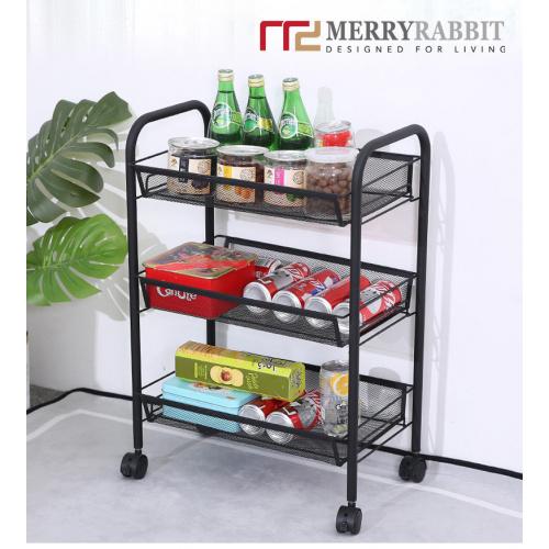 MerryRabbit - 蜂巢網三層收納車MR-XM_414B [黑色]