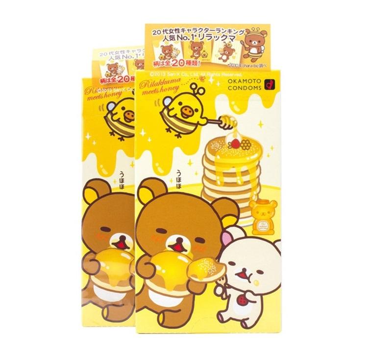 一盒 特別版OKAMOTO岡本 x RILAKKUMA蜂蜜味輕鬆小熊安全套(10個)