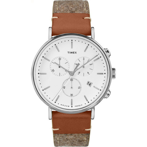 Timex Fairfield Chronograph Mixed Gray Material Strap 42mm 男裝皮帶手錶