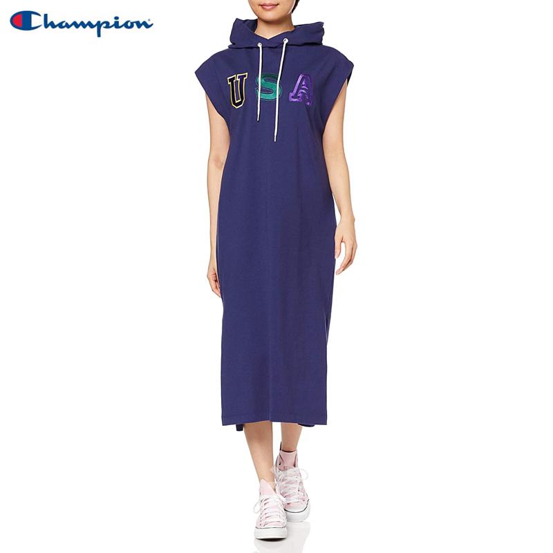 【💥日本直送】Champion 帶帽 無袖 側開叉 連衣裙 女士 純棉 M/L可選 藍色