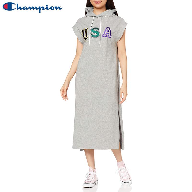 【💥日本直送】Champion 帶帽 無袖 側開叉 連衣裙 女士 純棉 M/L可選 灰色