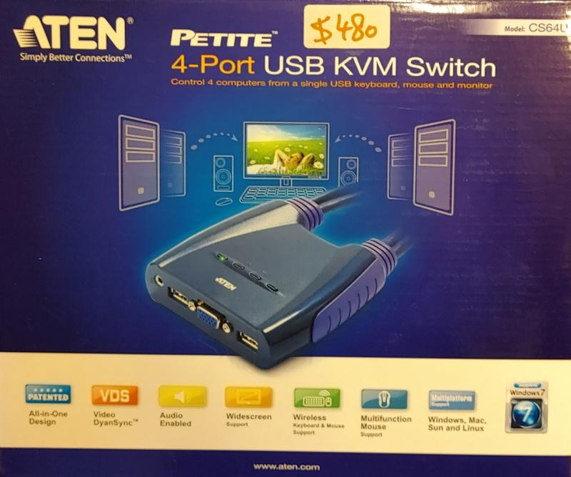 ATEN CS64U 4-Port USB VGA/Audio Cable KVM Switch (1.8m)