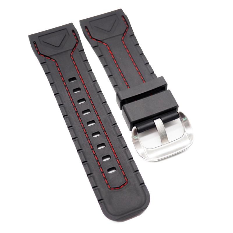 28mm SevenFriday 優質黑色代用膠錶帶, 紅色車線