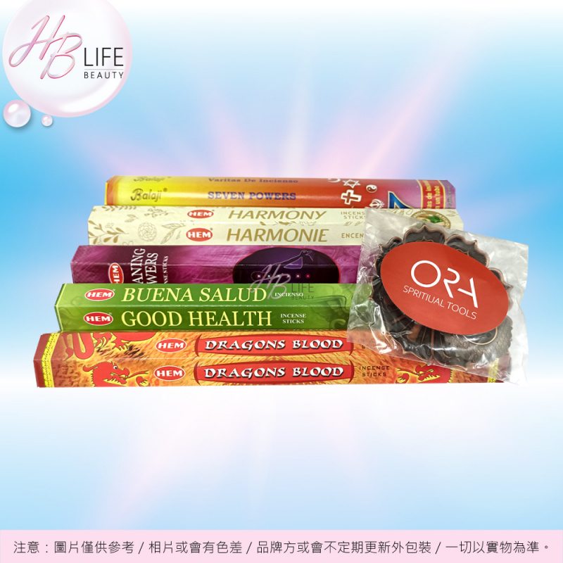 ORA 身心及空間净化組合配銅蓮花香座 (5X20支+1座)
