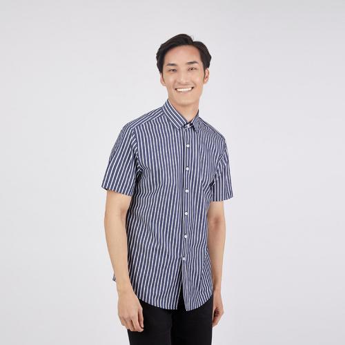CROCODILE 鱷魚恤 修身直條紋短袖男裝恤衫 [深藍色] [3尺寸]