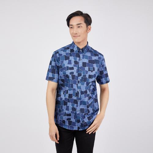 CROCODILE 鱷魚恤 不規則格仔拼色男裝恤衫 [藍色] [3尺寸]
