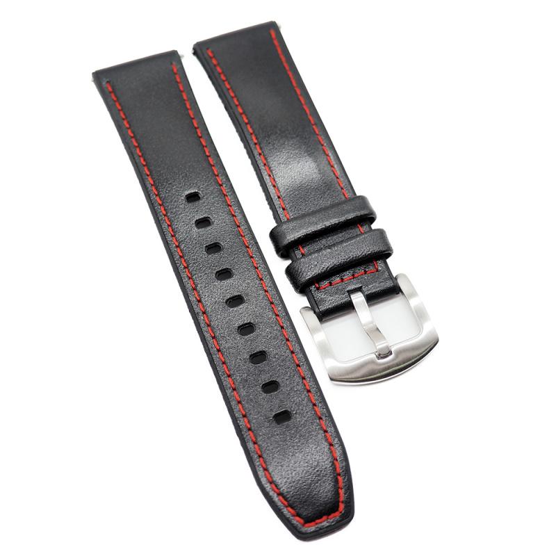 22mm 黑色牛皮紅車線膠錶帶, 快拆生耳