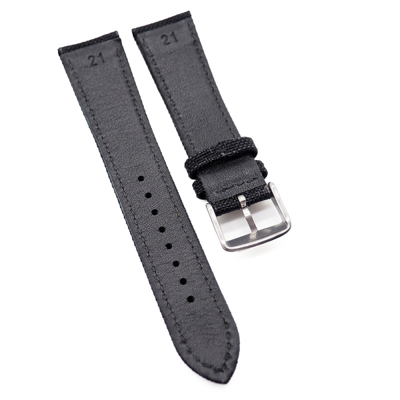 21mm, 22mm, 23mm 黑色尼龍橙色車線牛皮錶帶