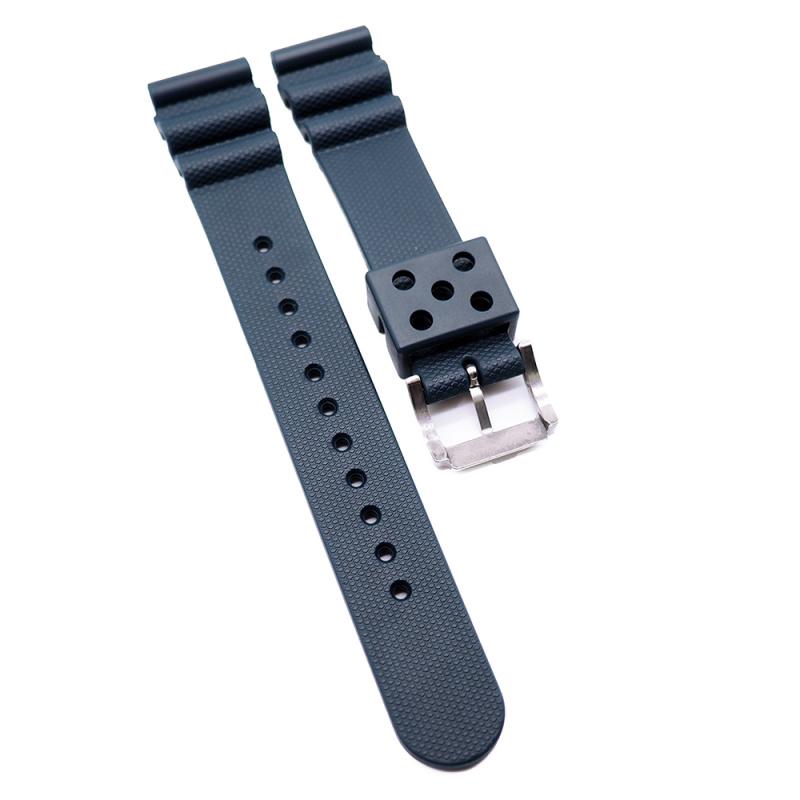 20mm, 22mm Seiko 海軍藍代用膠錶帶
