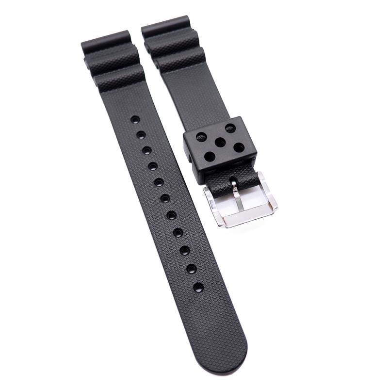 20mm, 22mm Seiko 黑色代用膠錶帶