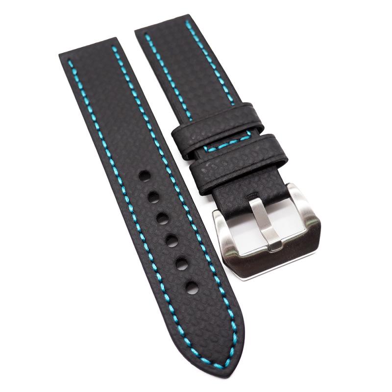 22mm, 26mm 黑色碳纖維錶帶, 淺藍色車線