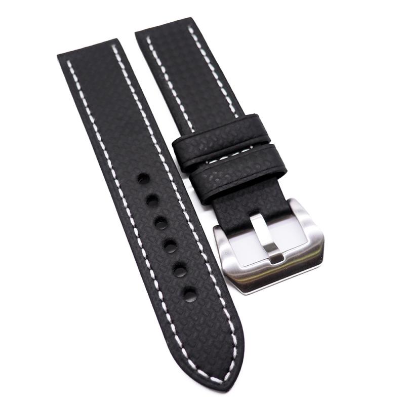 22mm, 26mm 黑色碳纖維錶帶, 白色車線