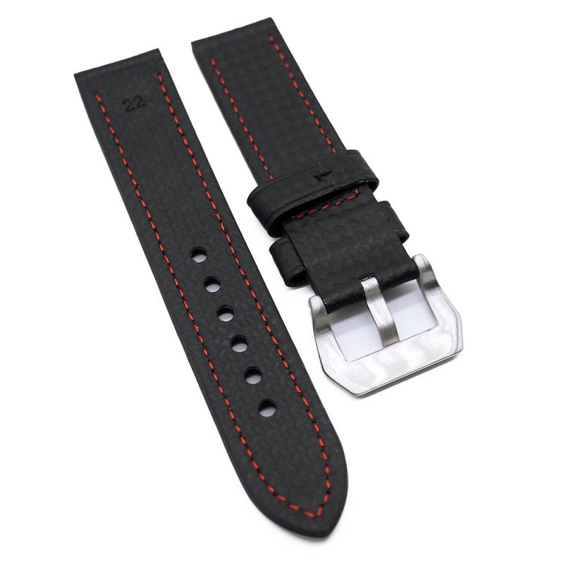 22mm, 26mm 黑色碳纖維錶帶, 紅色車線