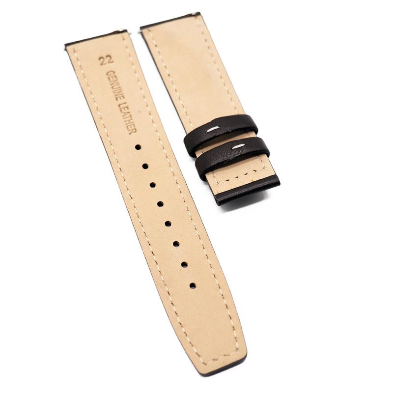 22mm 棕色牛皮錶帶, 快拆生耳