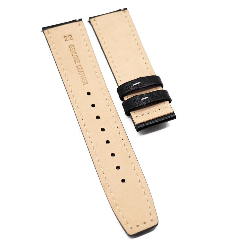 22mm 黑色牛皮錶帶, 快拆生耳