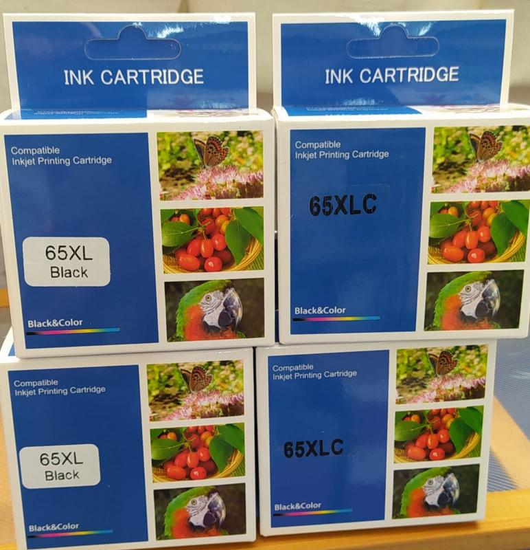 GTC 代用打印機墨水HP 65XL大容量黑色墨盒,墨水, HP 65XLC 大容量彩色墨盒,墨水