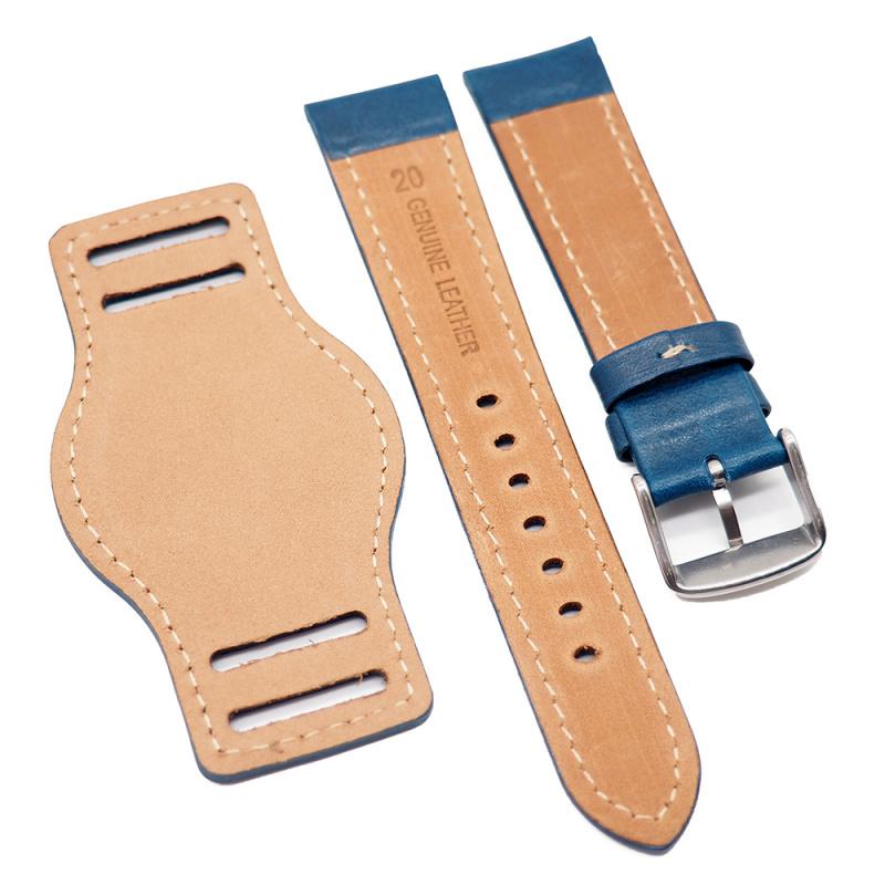 20mm 藍色牛皮底托錶帶