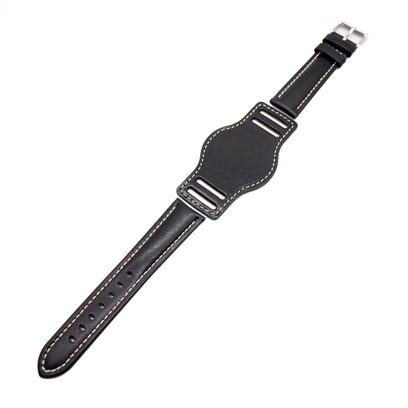 20mm 黑色牛皮底托錶帶
