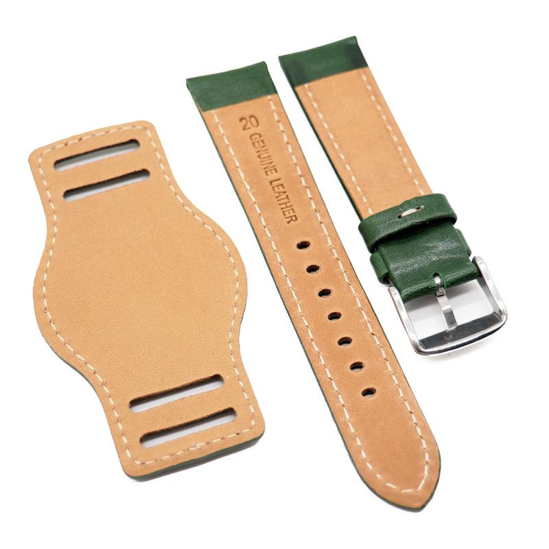 20mm 綠色牛皮底托錶帶