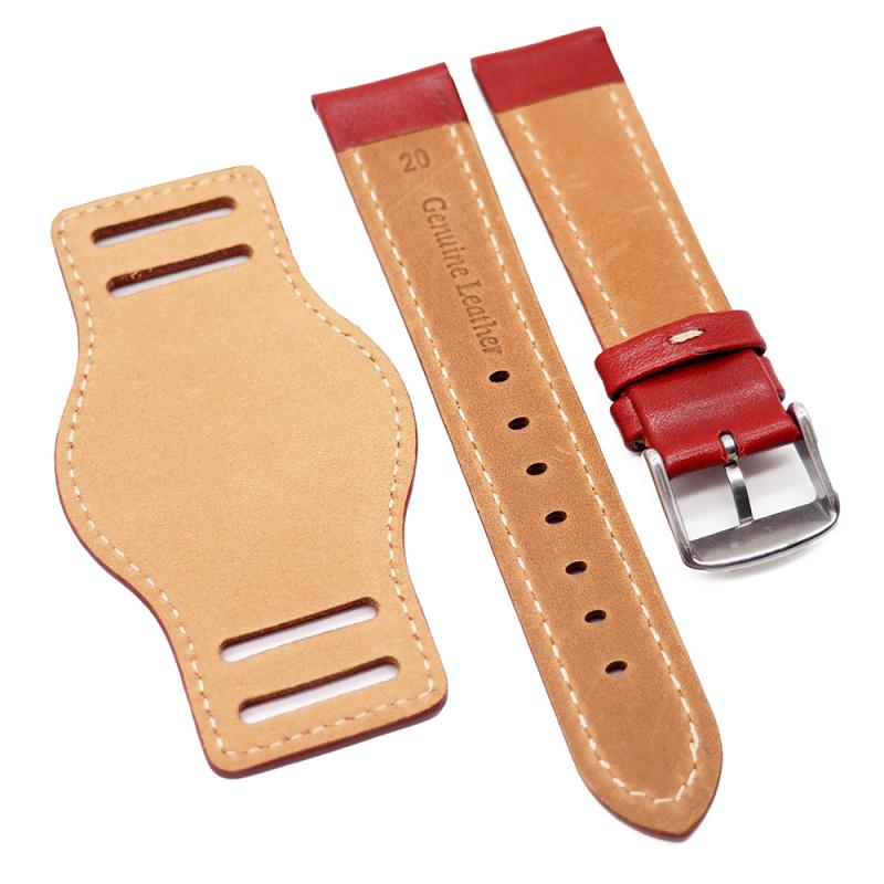 20mm 紅色牛皮底托錶帶