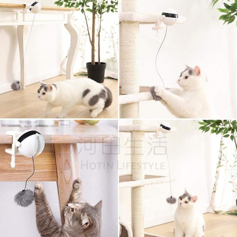 電動自動升降逗貓球 | 貓坃具 | 主子玩樂 |釣魚| 真天然毛球 |安全| 簡單|訓練