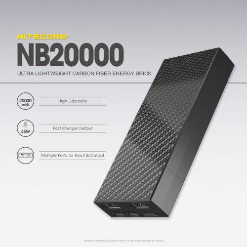 Nitecore NB20000 20000mAh 45wCarbon Power Bank 碳纖防水尿袋
