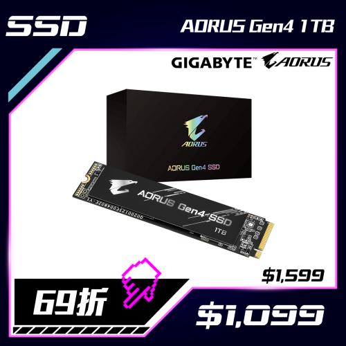 GIGABYTE AORUS Gen4 SSD PCIe 4.0 NVMe固態硬碟 (1TB/2TB)
