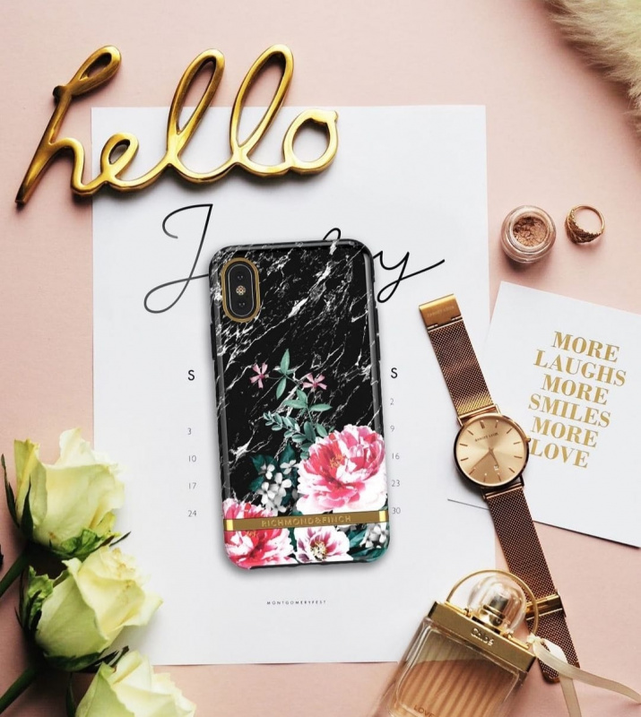 Richmond & Finch iPhone X/XS Case黑理石花 BLACK MARBLE FLORAL - GOLD DETAILS (IPX-603 )