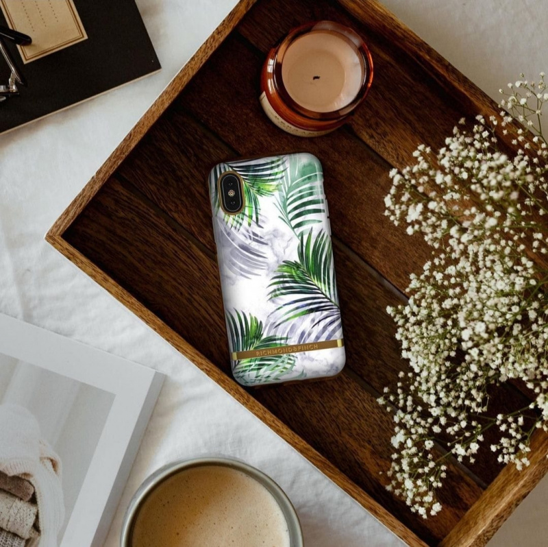 Richmond & Finch iPhone X/XS Case白石雨林 - WHITE MARBLE TROPICS - GOLD DETAILS ( IPX-604 )