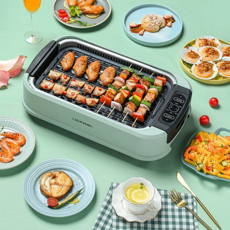 LIVEN 利仁 (含玻璃上蓋) 韓式無煙燒烤爐 自動吸油煙雙烤盤 KL-D380