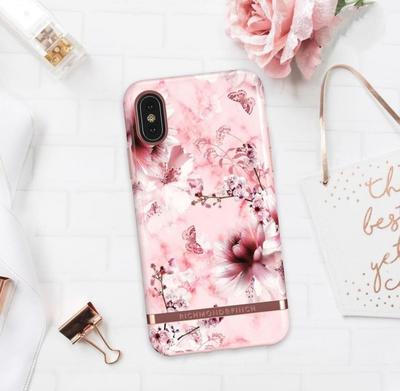 Richmond & Finch - iPhone X/XS Case粉理石花 - PINK MARBLE FLORAL - ROSÉ GOLD DETAILS ( IPX-605 )