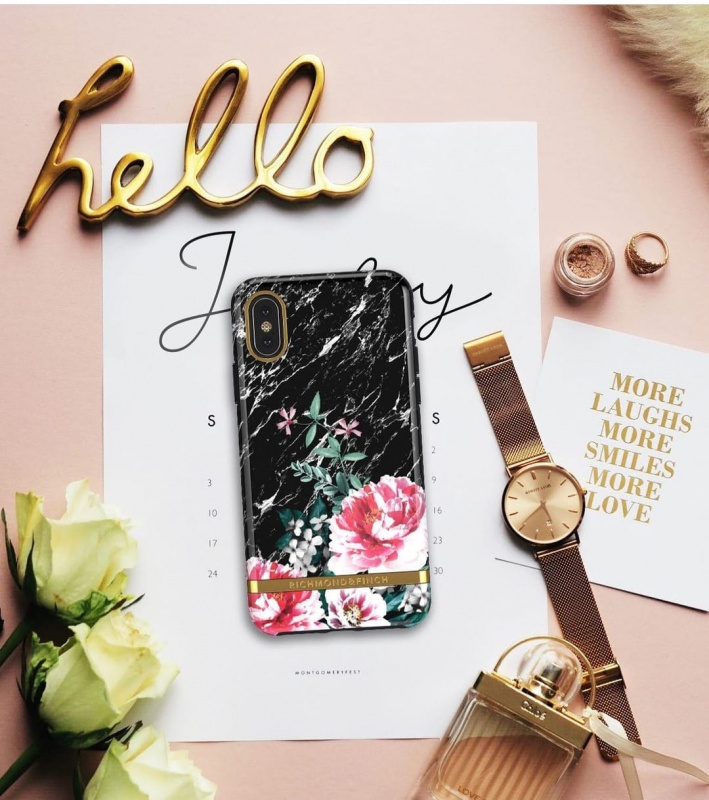 Richmond & Finch iPhone XS Max Case黑理石花 - BLACK MARBLE FLORAL - GOLD DETAILS ( IP65-603 )