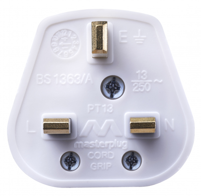 Masterplug PT13W 13A 保險絲插頭 可重新接電線 白色