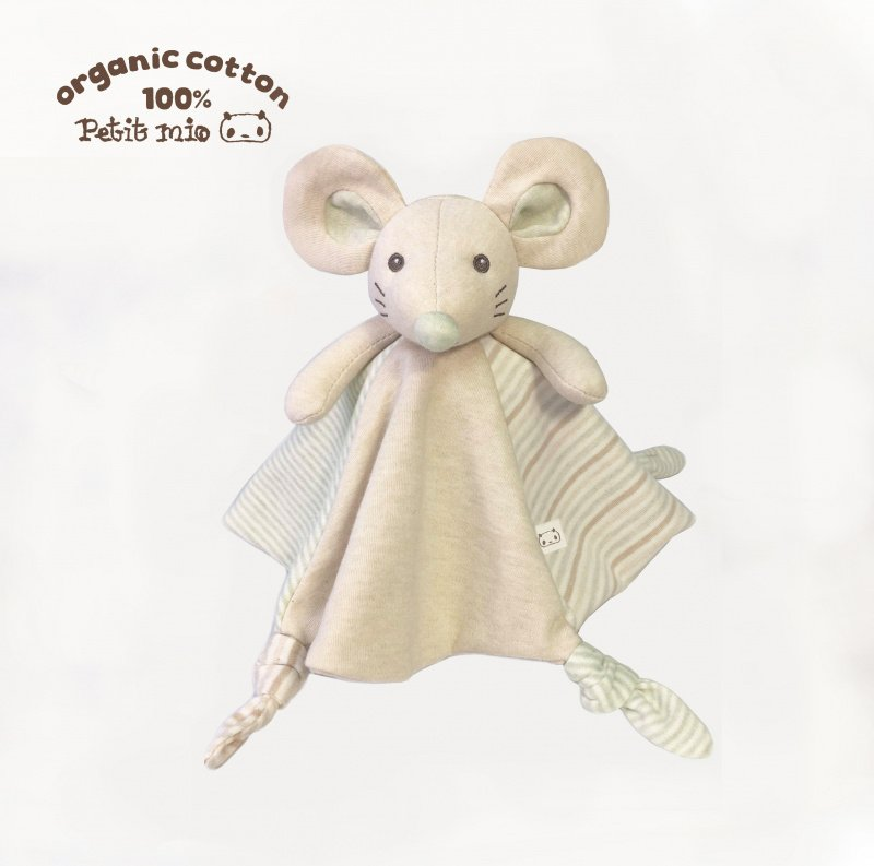 100% 有機棉嬰兒手偶安撫巾 / 口水巾 (開心鼠)