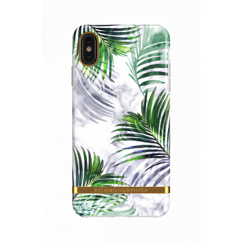 Richmond & Finch - iPhone XS Max Case白石雨林 - WHITE MARBLE TROPICS - GOLD DETAILS ( IP65-604 )