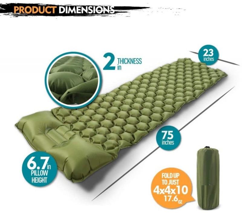 輕便露營墊,內置枕頭,可充氣野營床,適用於旅行露營,小巧便攜的露營墊