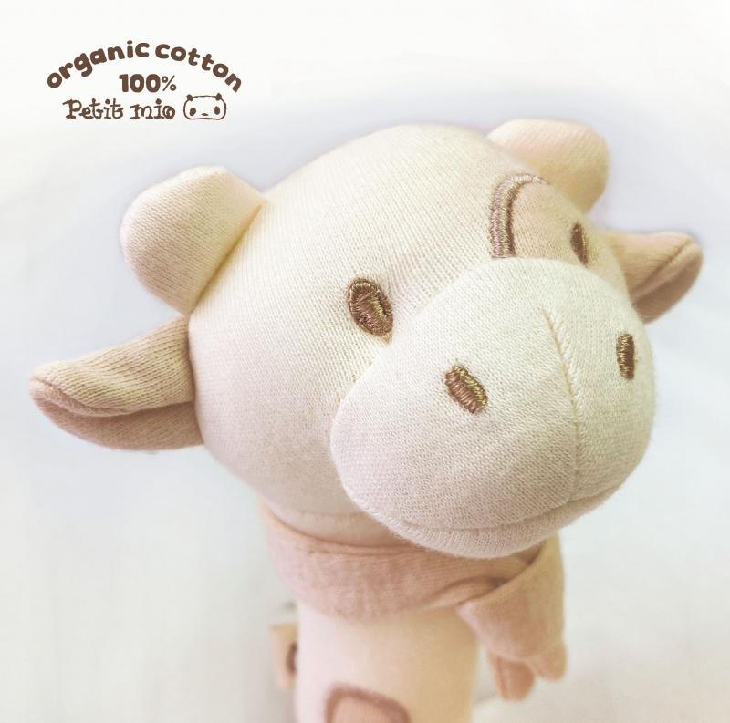 Petitmio - 100%有機棉安撫手握棒棒玩具 (牛牛)